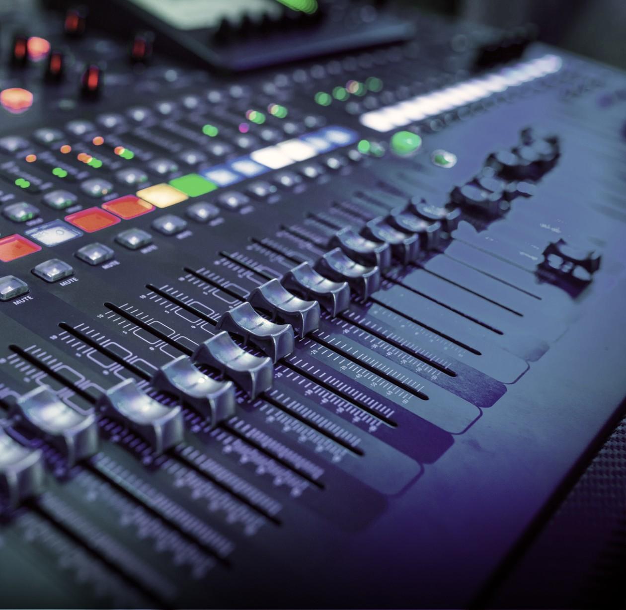 console audio avec les boutons alignés