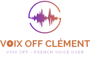 Logo voix off avec titre et sous titre avec cercle orange et violet représentation visuel et graphique du son